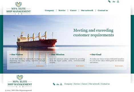Сайт компании MPA Elite Ship Management Ltd